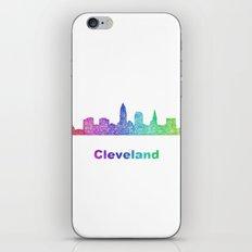 Rainbow Cleveland skyline iPhone & iPod Skin