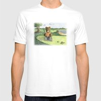 Golfer Bear Mens Fitted Tee White SMALL
