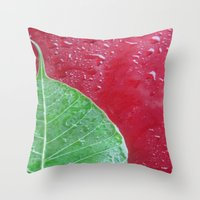 Leaf On Red Throw Pillow