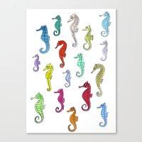 Seahorses Under The Colo… Canvas Print