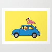 Pink Flamingo Fiat500 on holidays Art Print