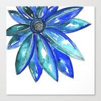 Blue Watercolor flower Canvas Print