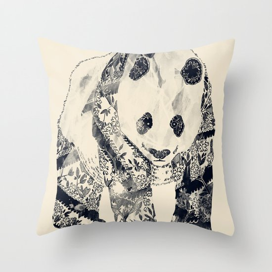 Tattooed Panda {cream} Throw Pillow