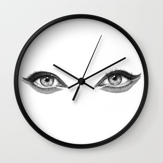 Eye Drawing Wall Clock by Nicole Lianne | Society6