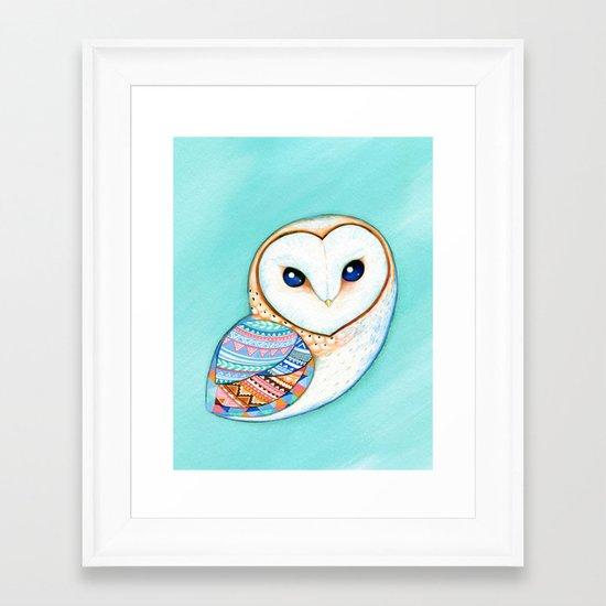 Tribal Pattern Barn Owl Framed Art Print