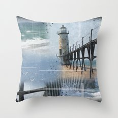 Manistee Lighthouse MI Throw Pillow