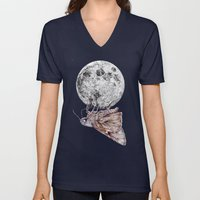 In which a moth is enticed by the light of the moon Unisex V-Neck