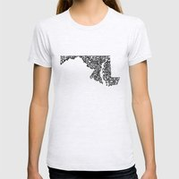 Typographic Maryland Womens Fitted Tee Ash Grey SMALL