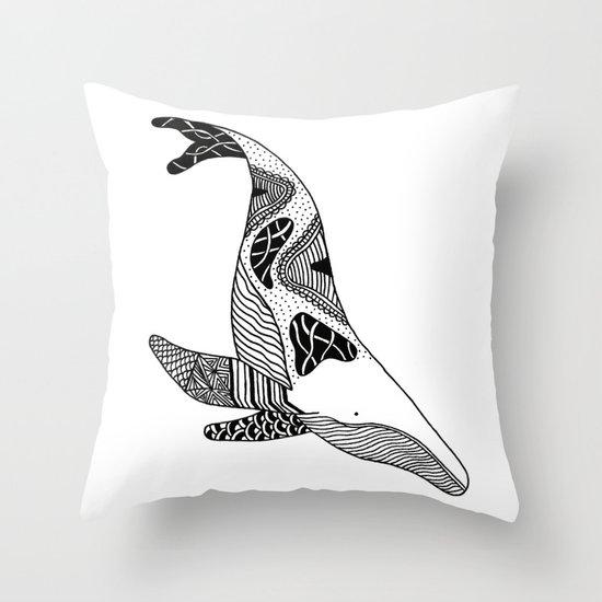 Patchwork Whale Throw Pillow