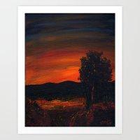 Fireflies at the Pond Art Print