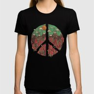 Peaceful Landscape Womens Fitted Tee Black X-LARGE
