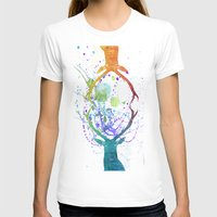 Watercolor Deer Womens Fitted Tee White SMALL