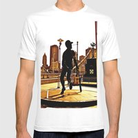 Roberto's Shadow Lives In Roberto's City Mens Fitted Tee White SMALL