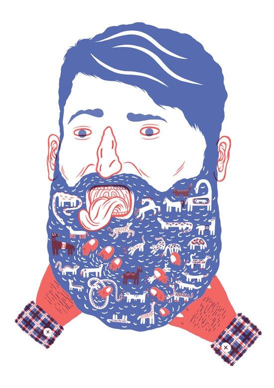 Animals in Beard Art Print