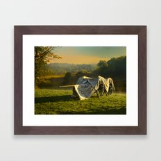 Civil War canon and limber in the early morning mist. Framed Art Print