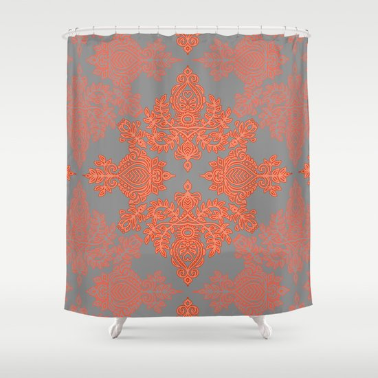 Burnt Orange Coral Grey Doodle Pattern Shower Curtain By Micklyn Soc