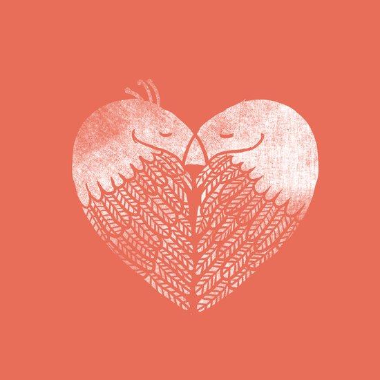 Love birds sitting on a tree Art Print