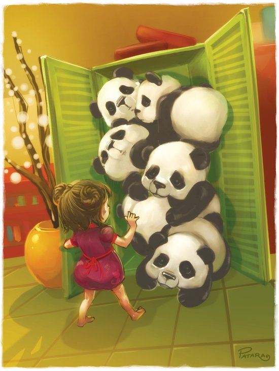 A cupboard of pandas Art Print