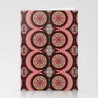 Red & Black Boho Moon Pattern Stationery Cards