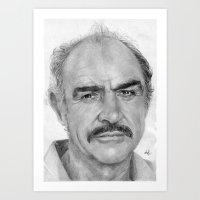 Sean Connery Traditional Portrait Print Art Print