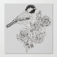 Cole Tit & Roses // Hand… Canvas Print