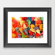 Senbazuru rainbow  Framed Art Print