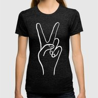 Peace Out Womens Fitted Tee Tri-Black MEDIUM