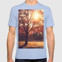 Autumn Sun  Mens Fitted Tee Tri-Blue SMALL