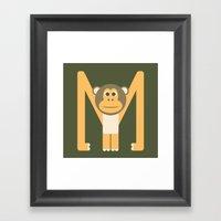 Letter M // Animal Alphabet // Monkey Framed Art Print
