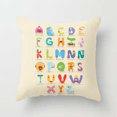Monster alphabet Throw Pillow