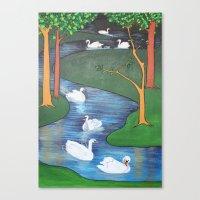 A Flock Of Seven Swans-A… Canvas Print