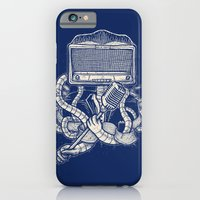iPhone & iPod Case featuring Rocker robot Navy by Mathijs Vissers