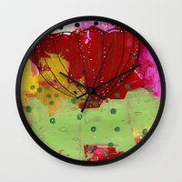 Red Flower Abstract Wall Clock
