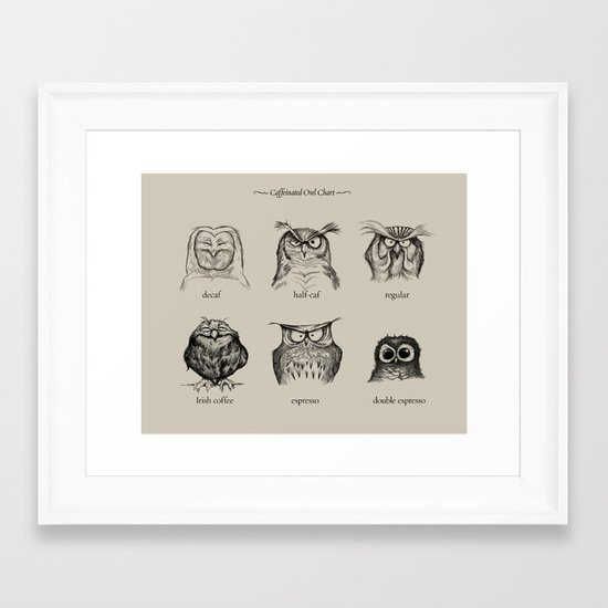 Caffeinated Owls Framed Art Print