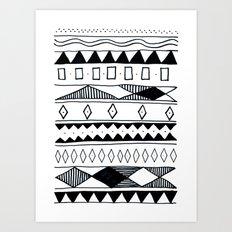 Rivers & Robots Pattern Art Print