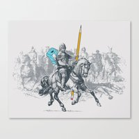 The Mighty Pencil Knight Canvas Print