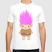 Hamburger Troll Mens Fitted Tee White SMALL