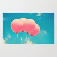 Pink Balloons on Deep Blue  Rug