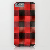 iPhone & iPod Case featuring Pixel Plaid - Lumberjack by Frostbeard Studio