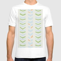 Chevron pale SMALL Mens Fitted Tee White