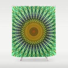 Transparent mandala in green and brown tones Shower Curtain