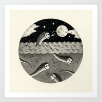 Convening on the Full Moon Art Print