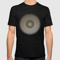 GOLDEN SUN MANDALA Mens Fitted Tee Tri-Black SMALL