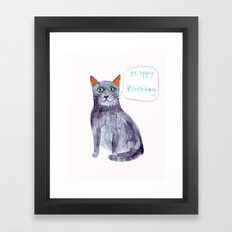 Happy Birthday cat Framed Art Print