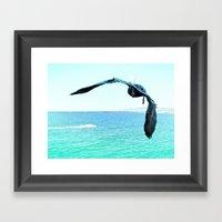 Pelican and Jetski Framed Art Print