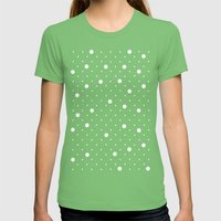 Pin Point Polka Dots Whi… Womens Fitted Tee Grass SMALL