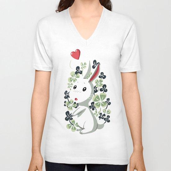 Clover Bunny V-neck T-shirt