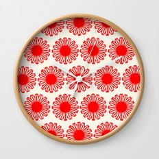 vintage flowers red Wall Clock