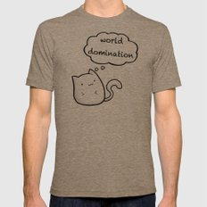 Cats World Domination Mens Fitted Tee Tri-Coffee SMALL