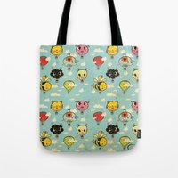 Happy Flight / The Animals Hot Air Balloon Voyagers / Patterns / Clouds Tote Bag